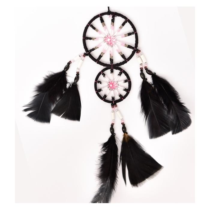 Schwarzer Traumfänger Toblack mit 2 Ringen und Sternenmuster