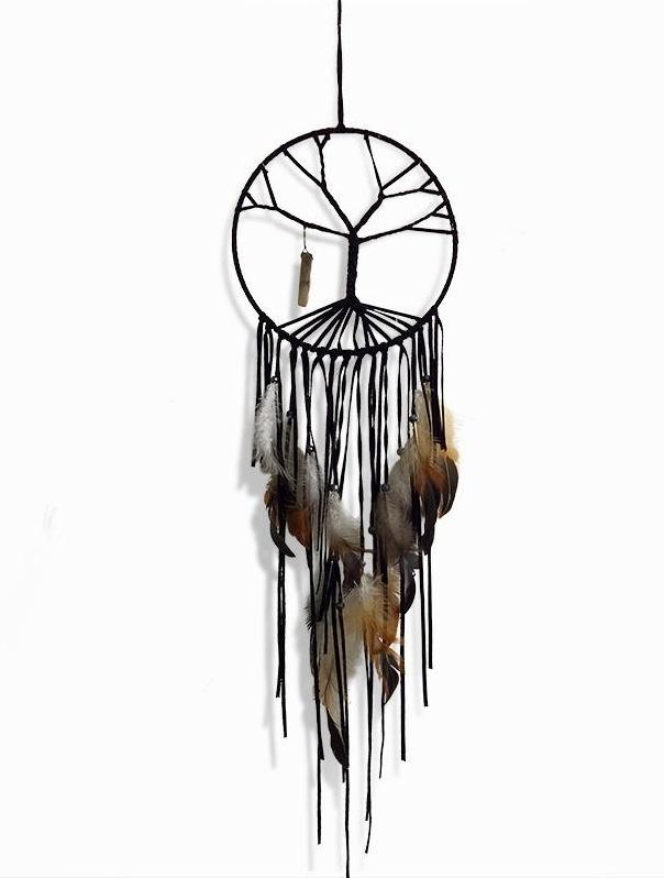 Grosser schwarzer Traumfänger Vida mit Lebensbaum und Kristall