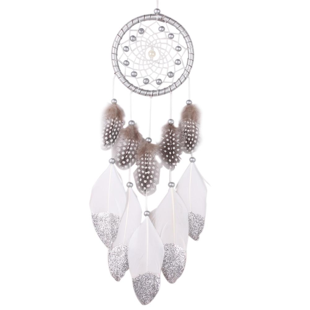 Silberner Traumfänger Silver Star mit Perlhuhnfedern