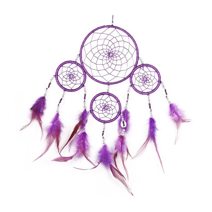 Violetter Traumfänger Valeria  mit 4 Ringen