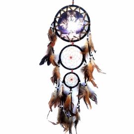 Grosser schwarzer Traumfänger Wolf mit 3 Ringen