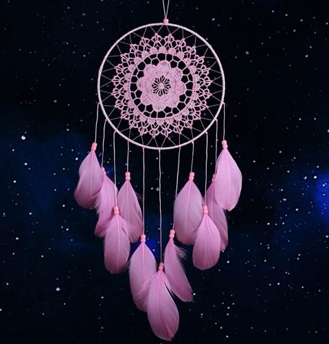 Grosser rosaroter Traumfänger Bellezza mit Stickmuster