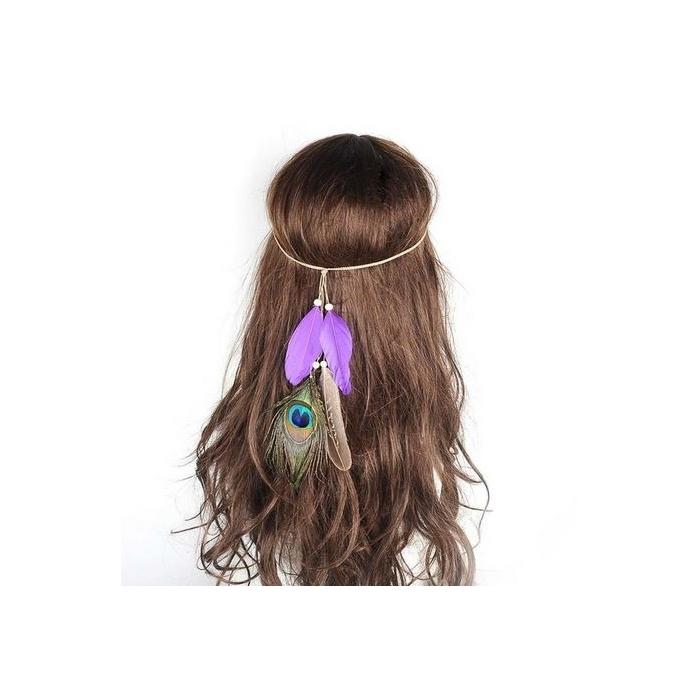 Violettes Indianer Haarband Vita mit Pfauenfeder - Kopfschmuck