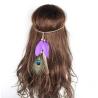 Violettes Indianer Haarband mit Pfauenfeder - Haarschmuck