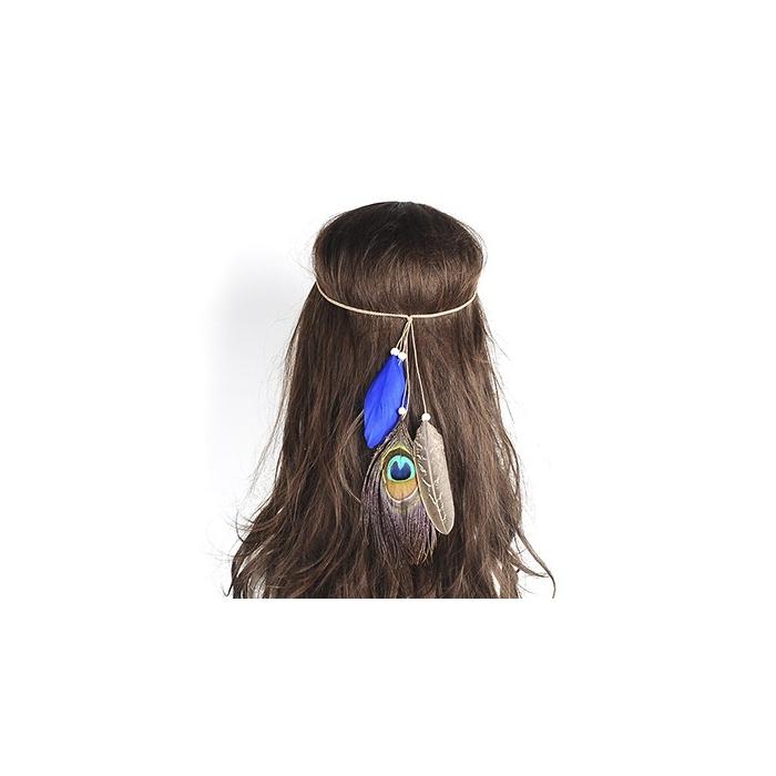 Blaues Indianer Haarband mit Pfauefeder - Haarschmuck