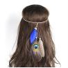 Blaues Indianer Haarband Aqua mit Pfauefeder - Kopfschmuck