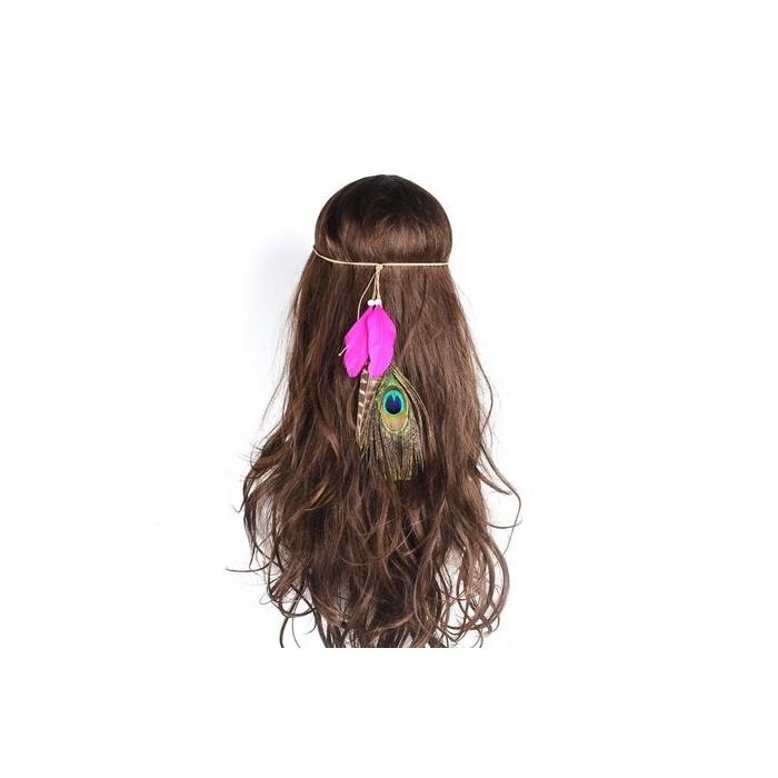 Rotes Indianer Haarband mit Pfauenfeder - Haarschmuck