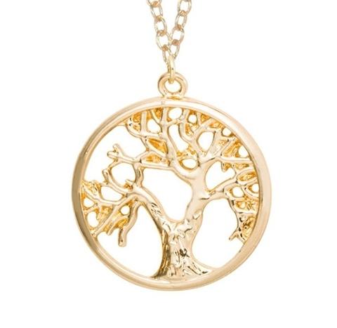 Golden farbige Halskette Zina mit Lebensbaum Anhänger, Modeschmuck – Schmuck