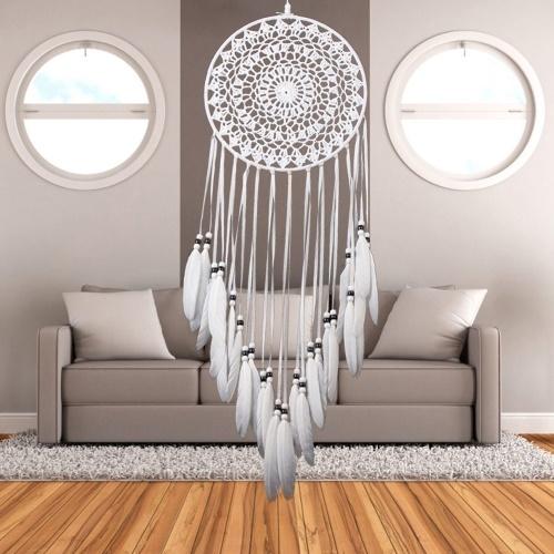 grosser weisser traumf nger bianco mit stickmuster als netz. Black Bedroom Furniture Sets. Home Design Ideas