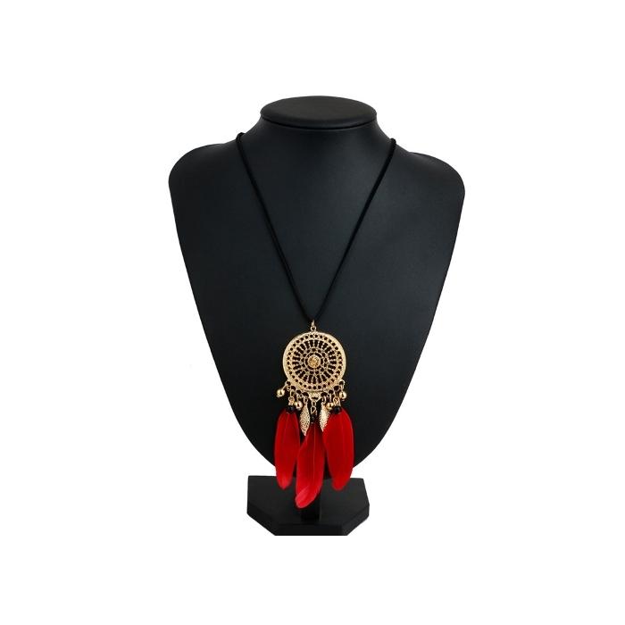 Goldfarbiger Traumfänger Schmuck Rosa mit roten Federn, Modeschmuck