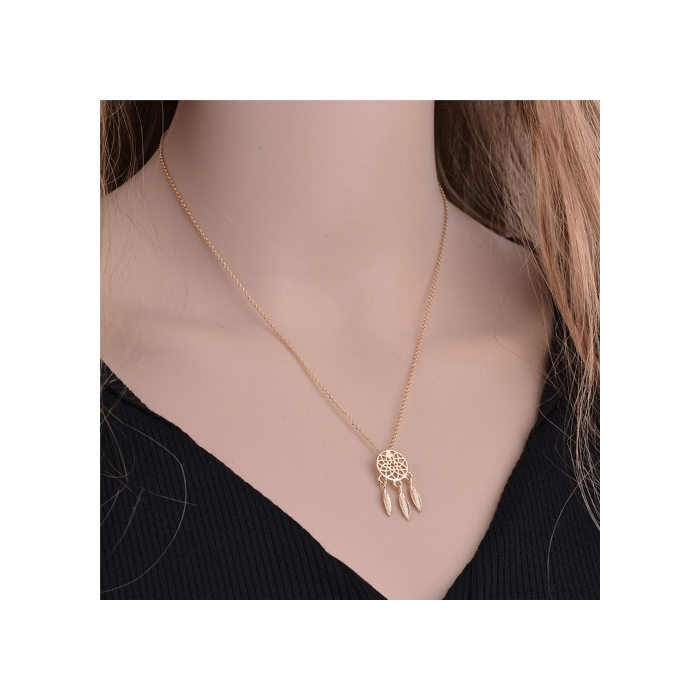Goldfarbiger Traumfänger Schmuck Luna mit feiner Halskette, Modeschmuck