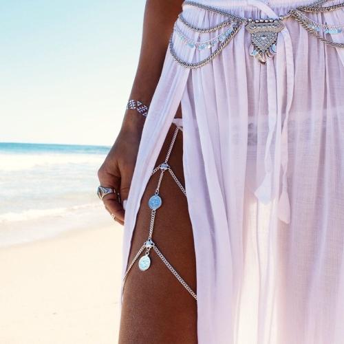 Silberfarbige Bauchkette Giulia mit Triangle - Modeschmuck