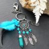 Silberfarbiger Traumfänger Schlüsselanhänger Amulett Rano mit Türkis Stein