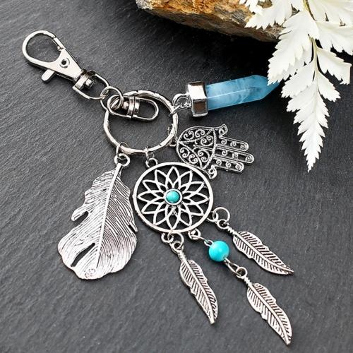 Silberfarbiger Traumfänger Schlüsselanhänger Mano mit Türkis Stein