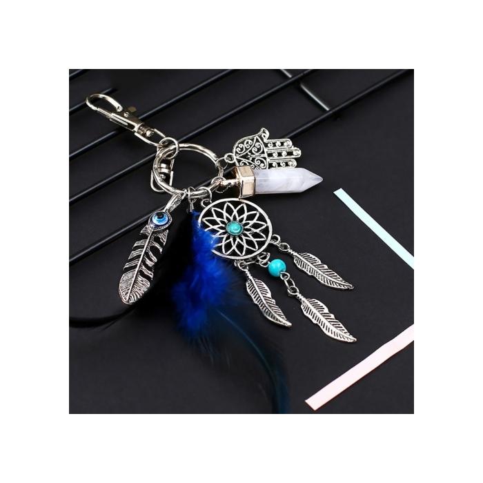Silberfarbiger Traumfänger Schlüsselanhänger Amulett Riano mit Türkis Stein