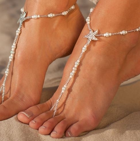 Weisse Fusskette Stella mit Stern - Modeschmuck