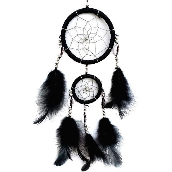 Schwarzer Traumfänger Nana mit 2 Ringen und Muscheln